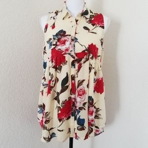 Umgee Sleeveless floral button up top Tunic size L